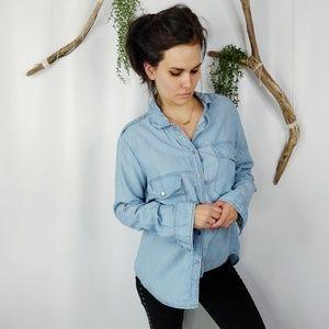 SANCTUARY chambray snap front shirt split back
